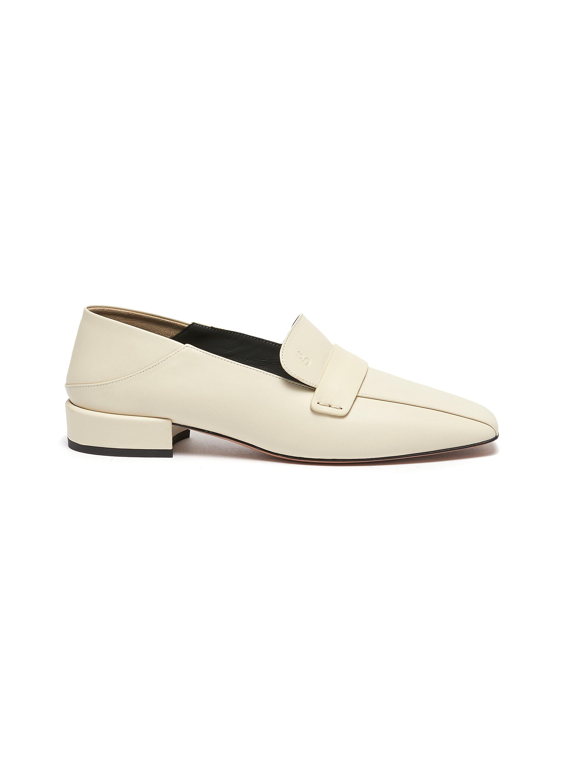 Comoda' Step-down Heel Leather Loafers