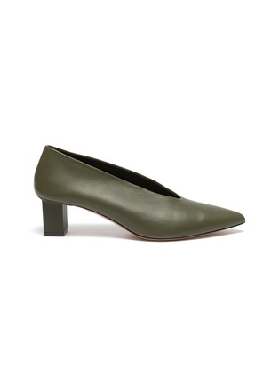 Main View - Click To Enlarge - GRAY MATTERS - Ivy' V Throat Block Heel Leather Pumps