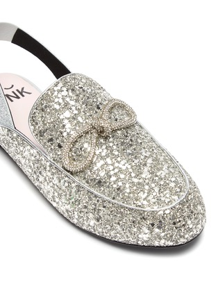Detail View - Click To Enlarge - WINK - Yogurt Glam' crystal bow slingback glitter kids mules
