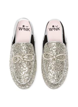 Figure View - Click To Enlarge - WINK - Yogurt Glam' crystal bow slingback glitter kids mules