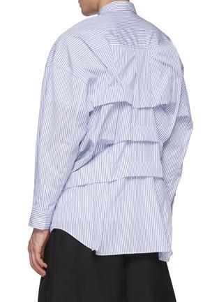 Back View - Click To Enlarge - COMME DES GARÇONS SHIRT - Pinstripe Wrinkle Effect Long Shirt