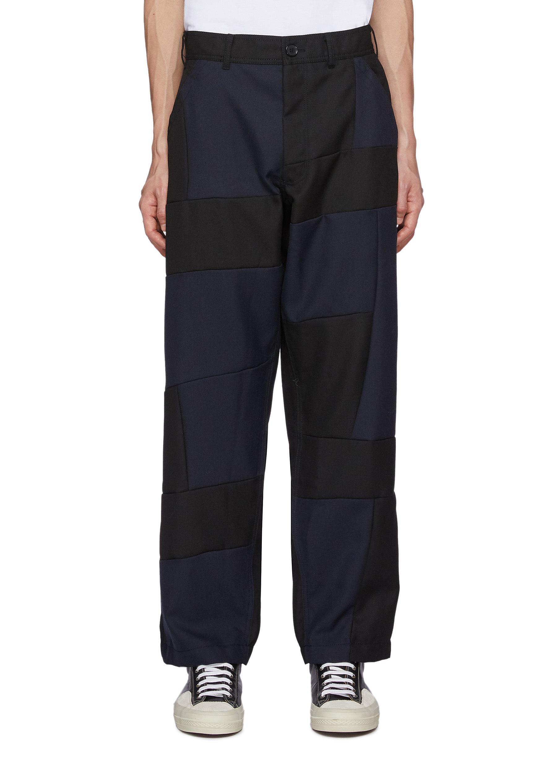 Patched Wool Gabardine Straight Pants