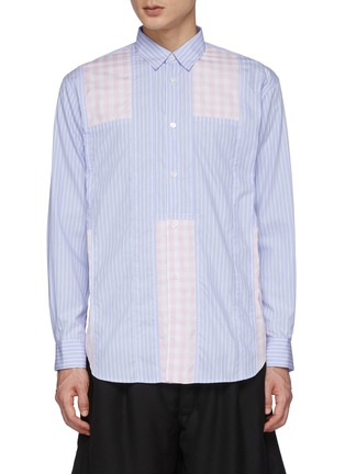 Main View - Click To Enlarge - COMME DES GARÇONS SHIRT - Stripe Patched Pink Checker Shirt