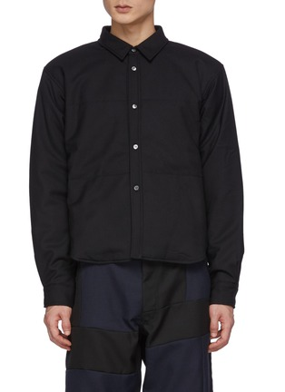 Main View - Click To Enlarge - COMME DES GARÇONS SHIRT - Wool Gabardine Cropped Padded Shirt