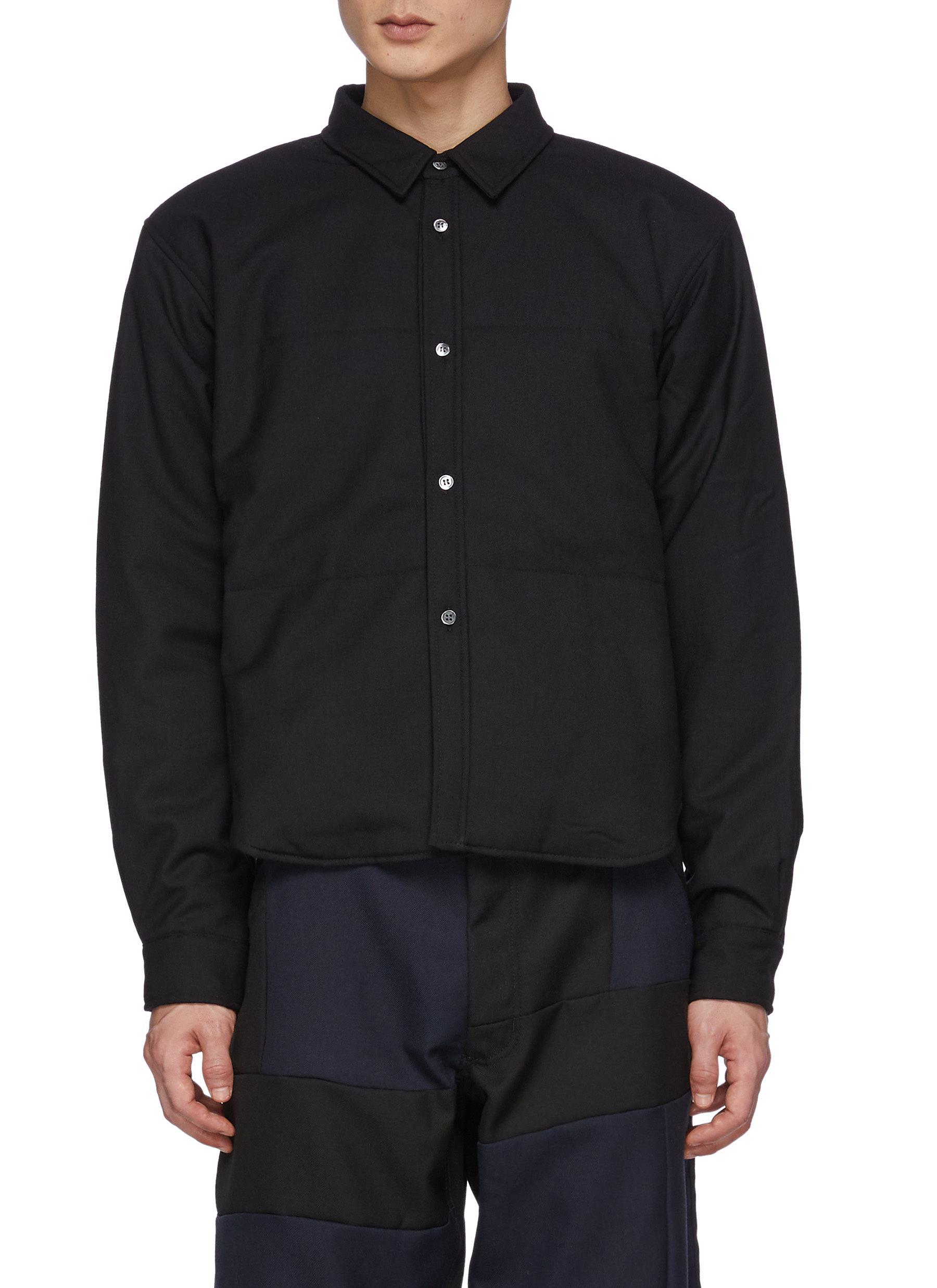 Wool Gabardine Cropped Padded Shirt