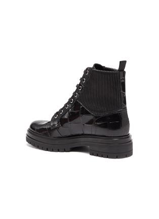 - GIANVITO ROSSI - 'Martis' croc-embossed leather combat boots