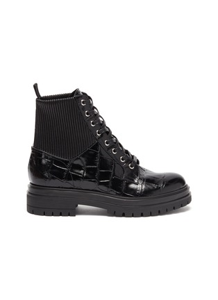 Main View - Click To Enlarge - GIANVITO ROSSI - 'Martis' croc-embossed leather combat boots