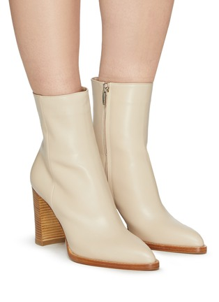 Figure View - Click To Enlarge - GIANVITO ROSSI - River' Point Toe Calfskin Leather Ankle Boots