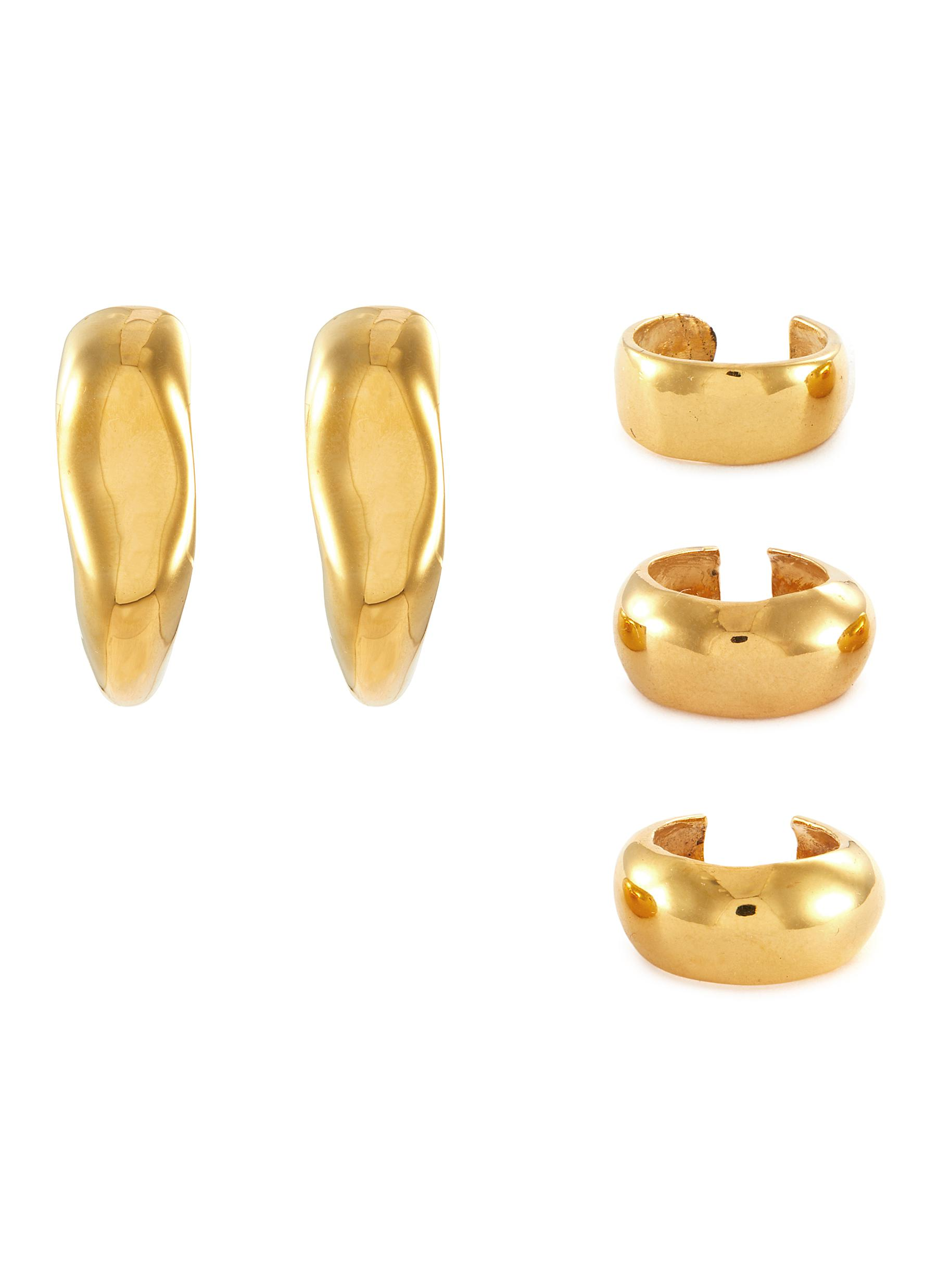Sunday' 22k Gold-plated Bronze Earring and Ear Cuff Set