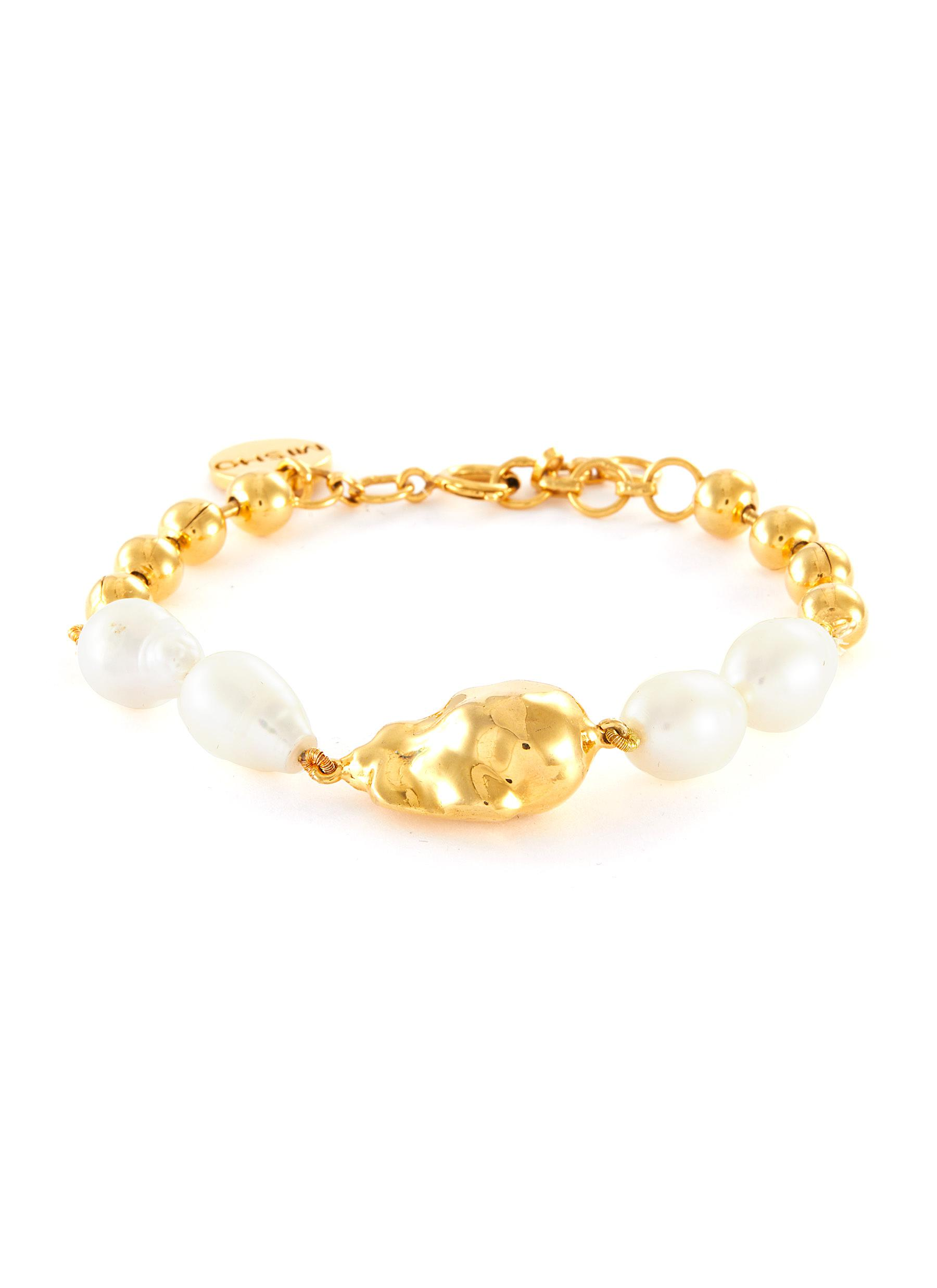 Baroque Pearl 22k Gold-plated Bronze Chain Bracelet
