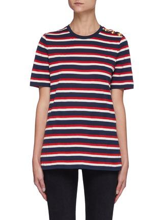 Main View - Click To Enlarge - BALMAIN - Button Stripe T-shirt