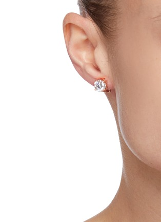 Figure View - Click To Enlarge - CZ BY KENNETH JAY LANE - Round Cut Cubic Zirconia Clip On Stud Earrings