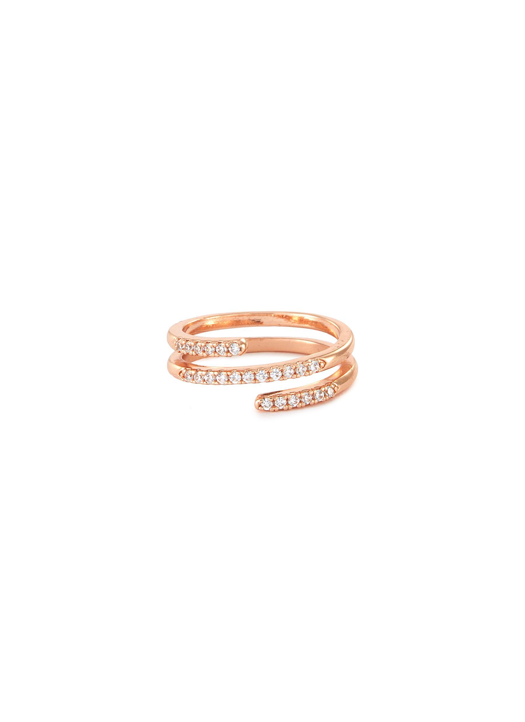 Cubic Zirconia Rose Gold Spiral Ring