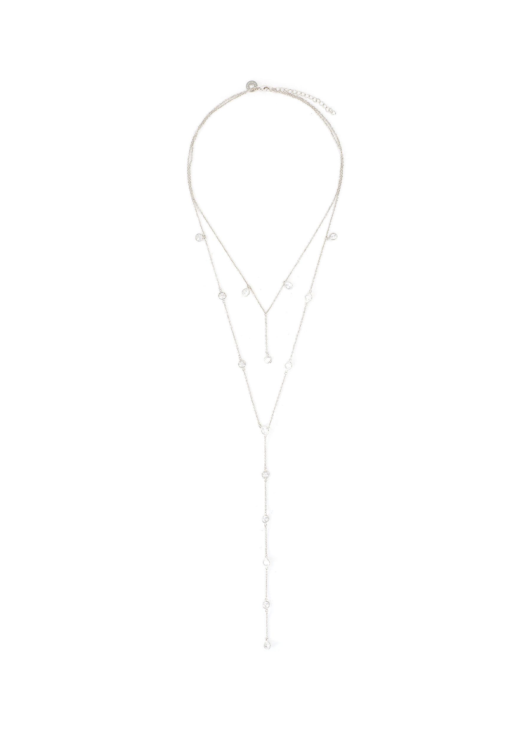 Cubic Zirconia Layered Y Necklace