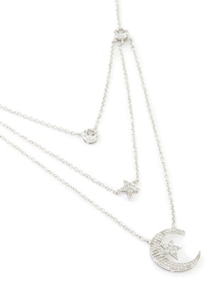 Detail View - Click To Enlarge - CZ BY KENNETH JAY LANE - Cubic Zirconia Astronomical Motif Triple Layer Necklace