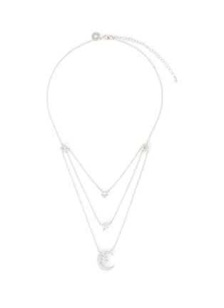 Main View - Click To Enlarge - CZ BY KENNETH JAY LANE - Cubic Zirconia Astronomical Motif Triple Layer Necklace