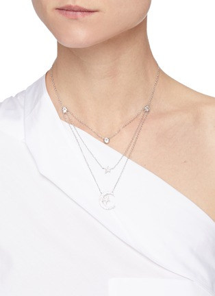 Figure View - Click To Enlarge - CZ BY KENNETH JAY LANE - Cubic Zirconia Astronomical Motif Triple Layer Necklace