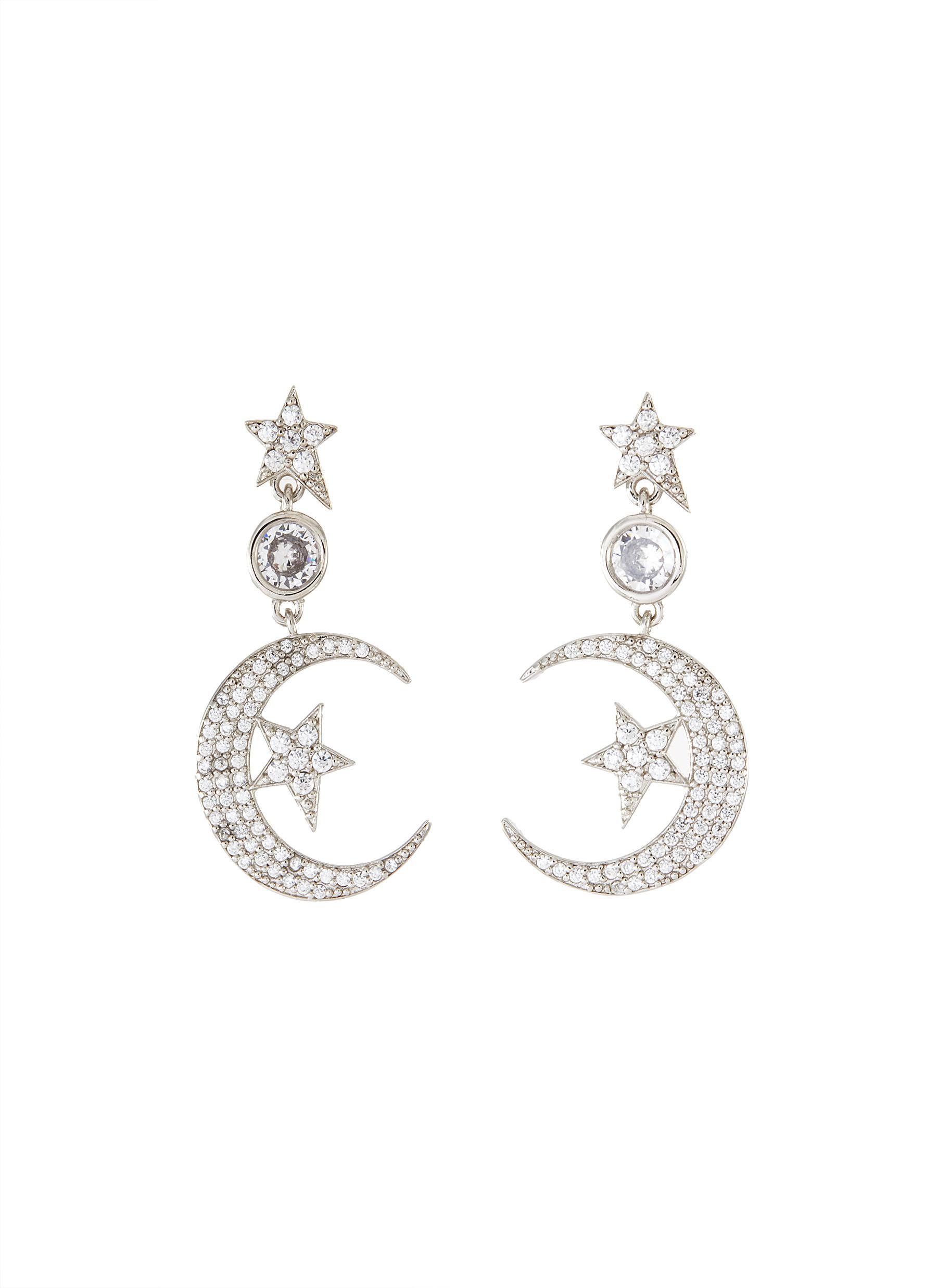 Cubic Zirconia Moon Star Motif Drop Earrings