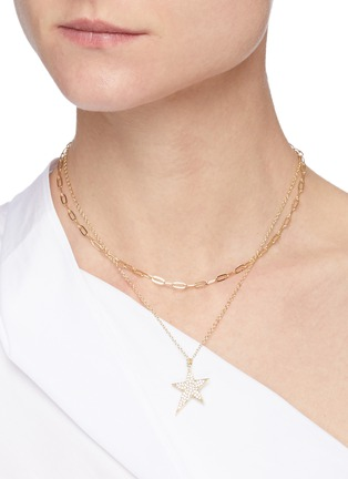 Figure View - Click To Enlarge - CZ BY KENNETH JAY LANE - Cubic Zirconia Stay Motif Double Layer Necklace