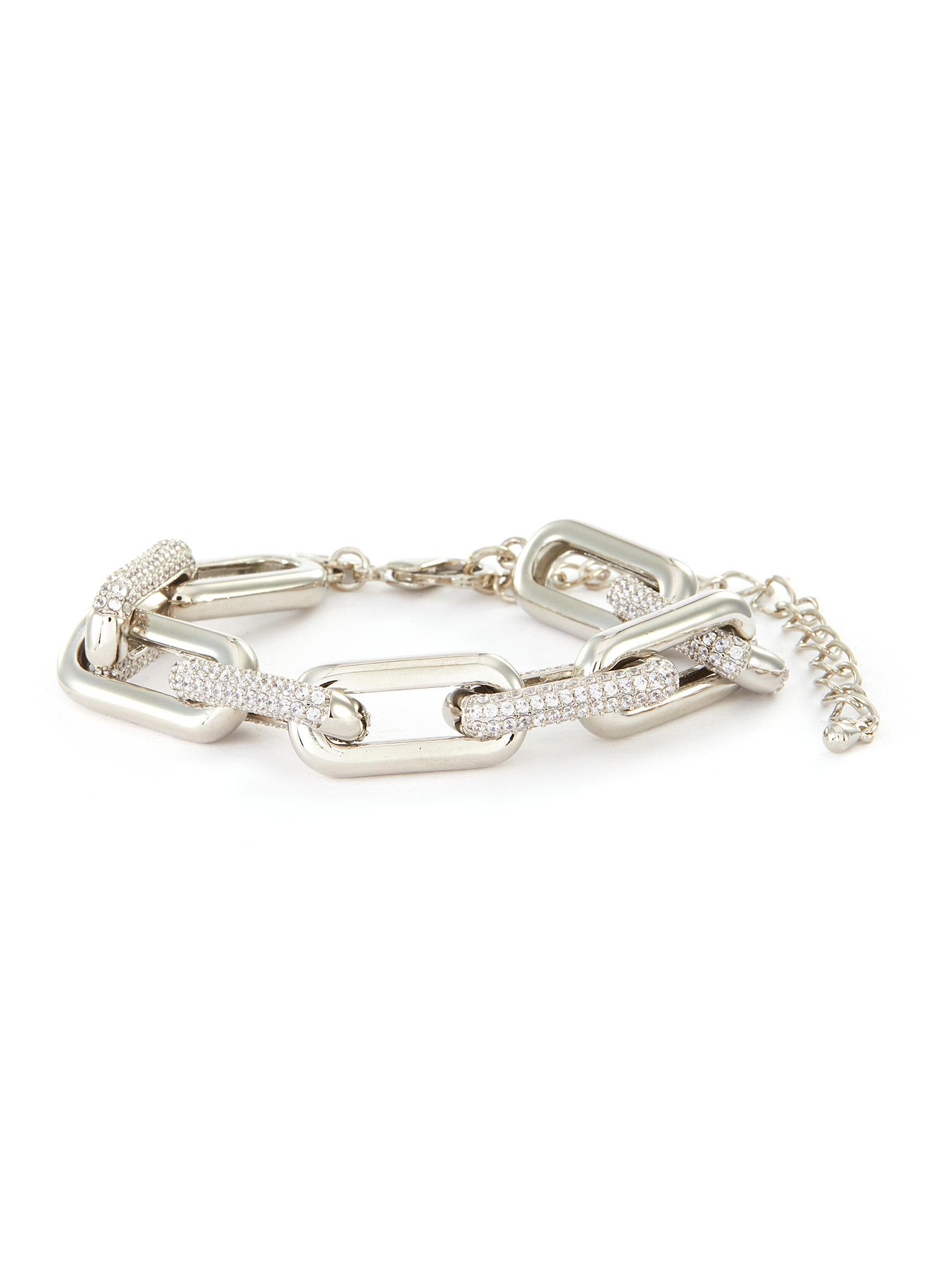Cubic Zirconia Alternative Link Chain Bracelet