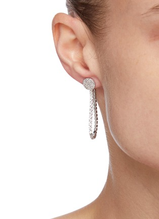 Figure View - Click To Enlarge - CZ BY KENNETH JAY LANE - Cubic Zirconia Loop Back Earrings