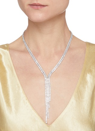 Figure View - Click To Enlarge - CZ BY KENNETH JAY LANE - Cubic Zirconia Tassel Necklace