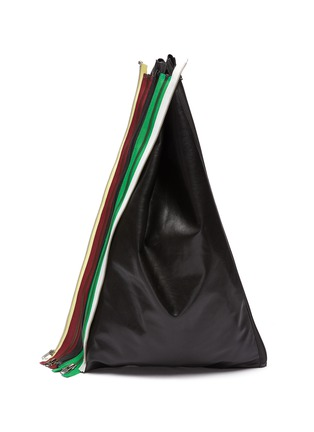 Main View - Click To Enlarge - KARMUEL YOUNG - Rainbow Zip Detail Triangular Leather Tote