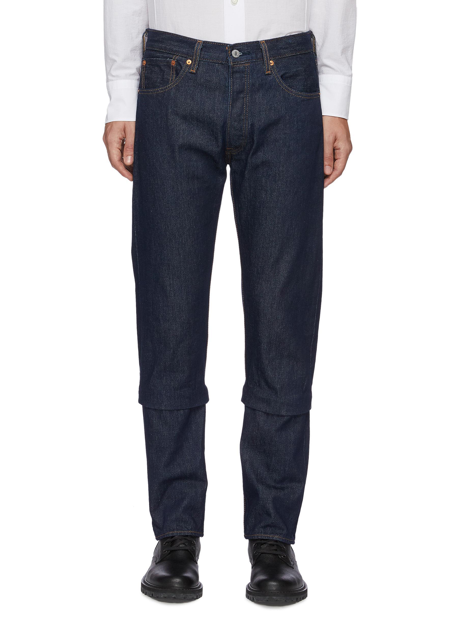 Dark rinse two way cuff jeans