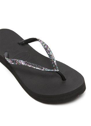 Detail View - Click To Enlarge - HAVAIANAS - 'Shine' Sequin Embellished Thong Flatform Sandals