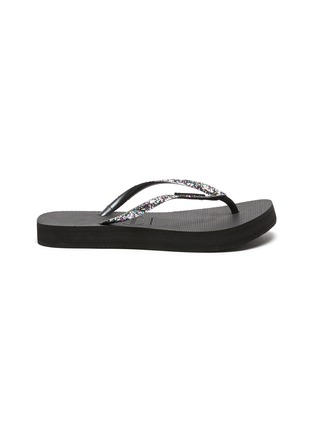 Main View - Click To Enlarge - HAVAIANAS - 'Shine' Sequin Embellished Thong Flatform Sandals