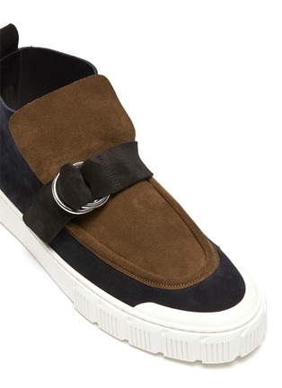 Detail View - Click To Enlarge - PIERRE HARDY - Buckle Strap Suede Hi Top Sneakers