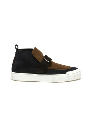 Main View - Click To Enlarge - PIERRE HARDY - Buckle Strap Suede Hi Top Sneakers
