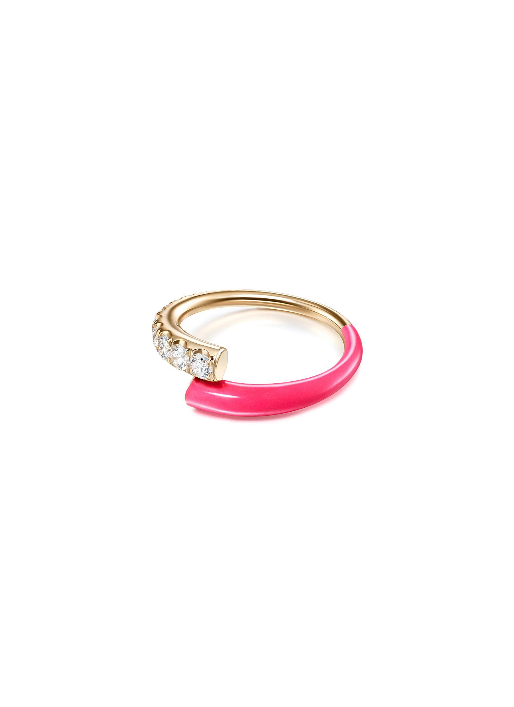 'Lola' Diamond 18k Rose Gold Enamel Accent Ring