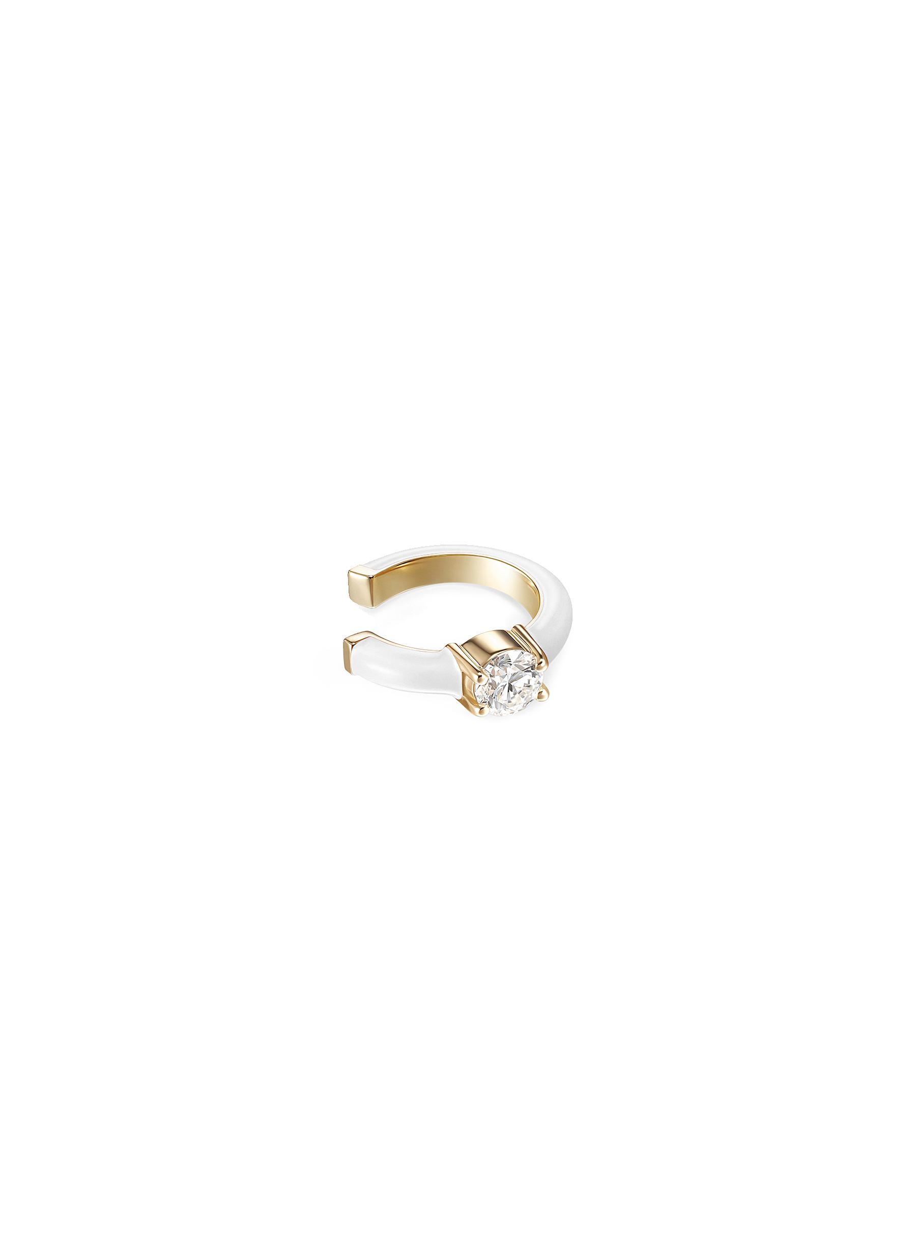 'Aria' Diamond 18k Gold Enamel Accent Ring