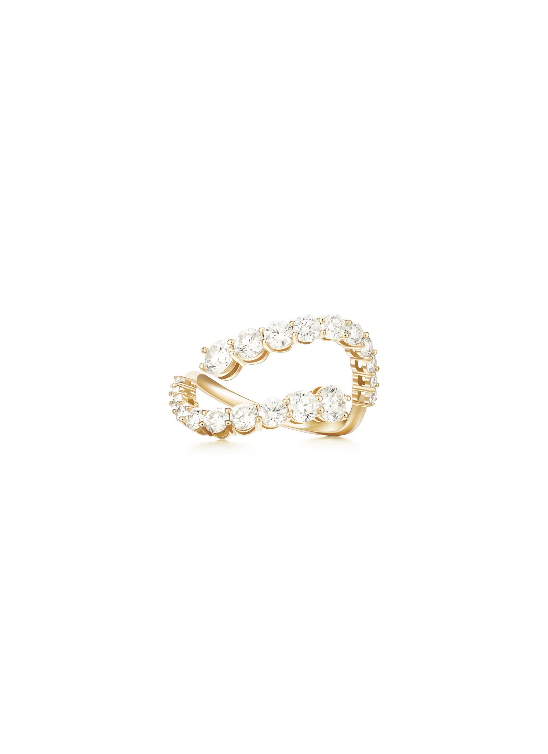 'Aria Skye' Diamond 18k Gold Double Band Ring