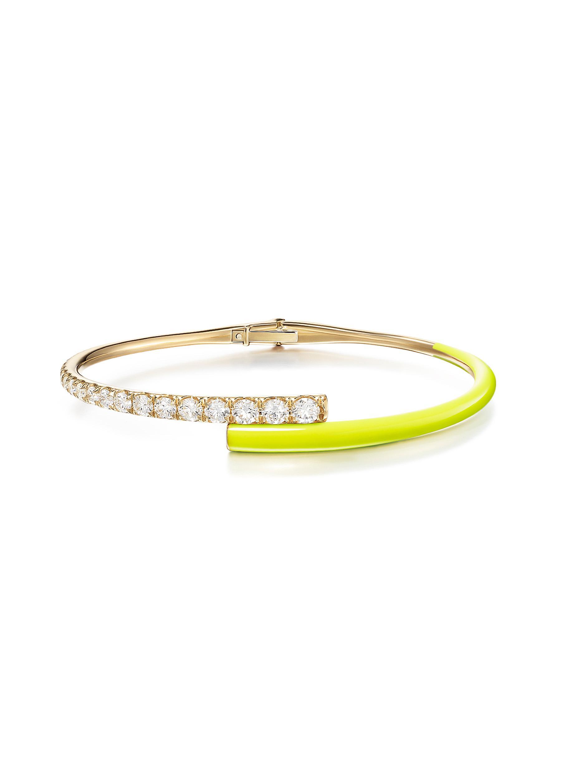 'Lola' Diamond 18k Gold Enamel Accent Bracelet