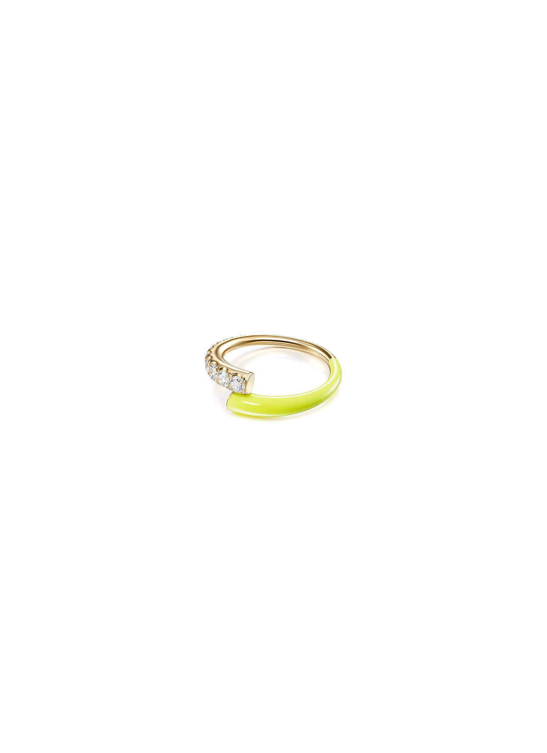 'Lola' Diamond 18k Gold Enamel Accent Ring