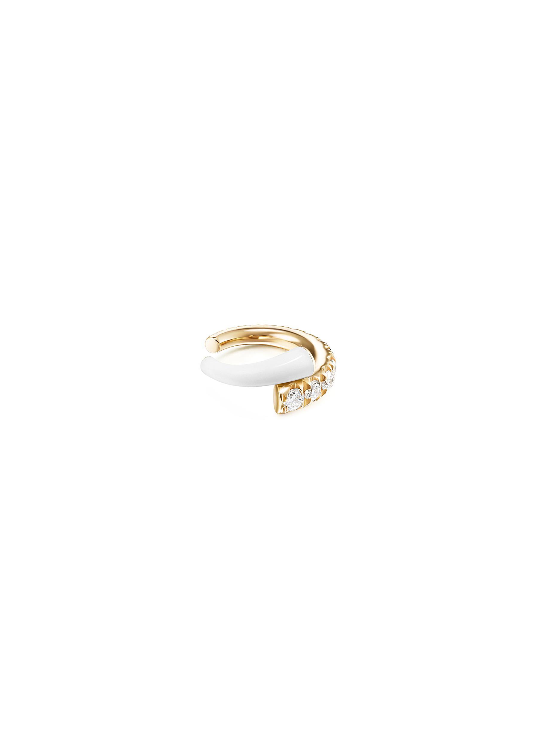 'Lola' Diamond 18k Gold Enamel Accent Ear Cuff