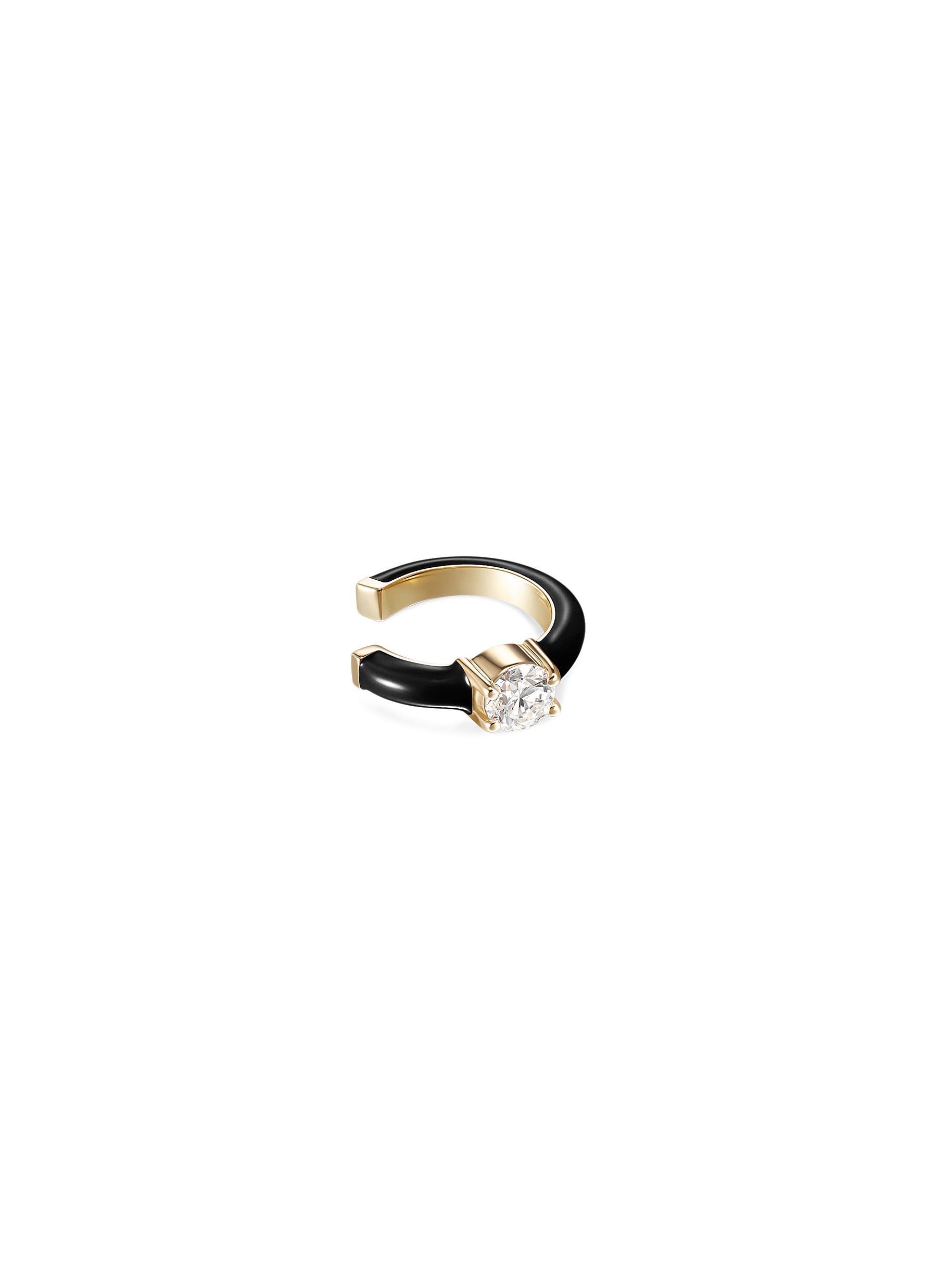 'Aria' Diamond 18k Gold Enamel Accent Ear Cuff