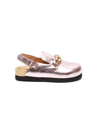 Main View - Click To Enlarge - WINK - 'Custard' Horsebit Detail Slingback Kids Metallic Leather Sandals