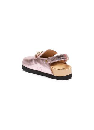 Figure View - Click To Enlarge - WINK - 'Custard' Horsebit Detail Slingback Kids Metallic Leather Sandals