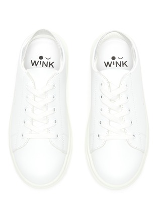 Figure View - Click To Enlarge - WINK - Sherbet' Glitter Slingback Strap Kids Leather Slip-on Sneakers
