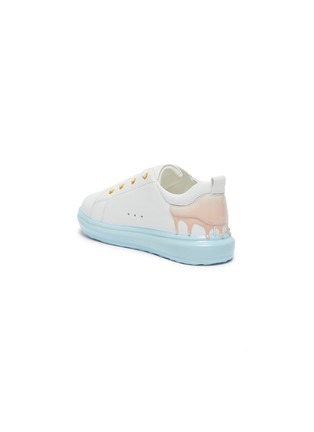 Detail View - Click To Enlarge - WINK - Sorbet Drip' Translucent Sole Heel Drip Detail Kids Leather Sneakers