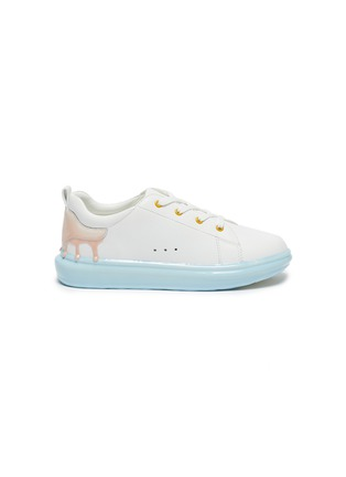 Main View - Click To Enlarge - WINK - Sorbet Drip' Translucent Sole Heel Drip Detail Kids Leather Sneakers