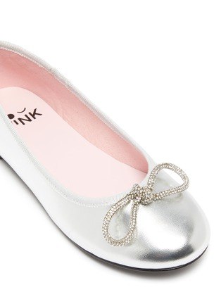 Detail View - Click To Enlarge - WINK - Soda Pop Glam' Crystal Embellished Bow Kids Leather Ballerinas