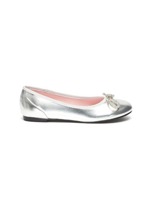 Main View - Click To Enlarge - WINK - Soda Pop Glam' Crystal Embellished Bow Kids Leather Ballerinas