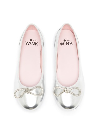 Figure View - Click To Enlarge - WINK - Soda Pop Glam' Crystal Embellished Bow Kids Leather Ballerinas