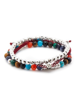 Main View - Click To Enlarge - TATEOSSIAN - Multi bead sterling silver thread elastic bracelet