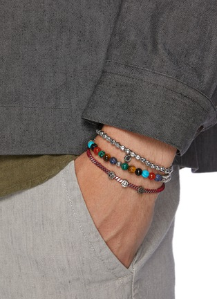 Figure View - Click To Enlarge - TATEOSSIAN - Multi bead sterling silver thread elastic bracelet