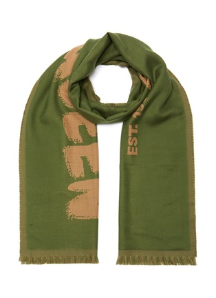 Main View - Click To Enlarge - ALEXANDER MCQUEEN - Logo Print Fringe Edge Wool Scarf